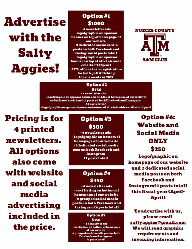 2021 Salty Aggie Newsletter Pricing